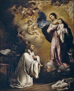 San Bernardo - Aparición de la Virgen por Murillo.