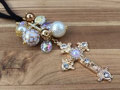 Gold Cross Ornament for Rear View Mirror Car Charm by TheBadaBling