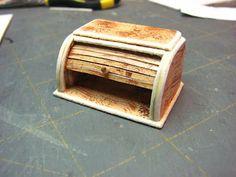 Dollhouse Miniature Furniture - Tutorials   1 inch minis: DOLL HOUSE ROLL TOP BREAD BOX TUTORIAL - How to make a doll house roll top bread box from mat board.