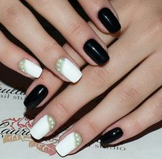 Black, white, rhinestones, caviar, simple, short nails