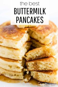 These are the absolute BEST buttermilk pancakes! Perfectly soft, fluffy and moist. Taste amazing topped with butter, syrup and fresh berries! #pancakes #buttermilk #buttermilkpancakes #breakfast #breakfastrecipes #brunch #brunchrecipes #breakfastideas #syrup #recipes #iheartnaptime
