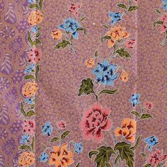 flowers  vintage  with pale purple  pure cotton by TheThailand, $17.00