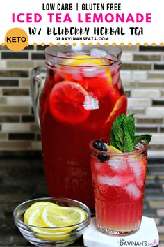 A keto iced tea lemonade recipe that uses steeped Bigelow Wild Blueberry with Acai herbal tea from Walmart. Includes an all-natural sugar replacement and my keto lemonade recipe to eliminate added sugar. Perfect for those who are keto and low-carb or just looking for no and low sugar drink recipes. Tips for Bigelow Tea substitutions included to create unique low carb iced tea flavor combos #ketodrinks #ketoicedtea #ketolemonade #ad #TeaProudly #BigelowIcedTea