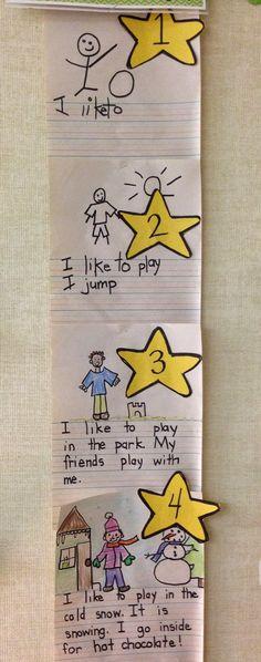 First Grade Fun- Visual 4 star writing and drawing rubric Writing Lessons, Teaching Writing, Writing Activities, Writing Skills, Writing Process, Kindergarten Anchor Charts, Writing Anchor Charts, Kindergarten Literacy, Work On Writing