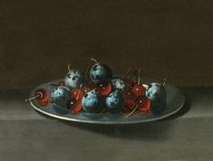 Plate with Plums and Morello Cherries from van der Hamen -