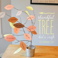 Top 32 Easy DIY Thanksgiving Crafts Kids Can Make/thankful tree Thanksgiving Crafts For Kids, Thanksgiving Activities, Fall Crafts, Holiday Crafts, Holiday Fun, Diy Crafts, Thanksgiving Tree, Holiday Ideas, Christmas Ideas