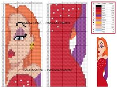 Jessica Rabbit - marque page Cross Stitch Bookmarks, Cross Stitch Books, Beaded Cross Stitch, Cross Stitch Charts, Cross Stitch Embroidery, Jessica Rabbit, Disney Bookmarks, Bookmarks Kids, Disney Cross Stitch Patterns