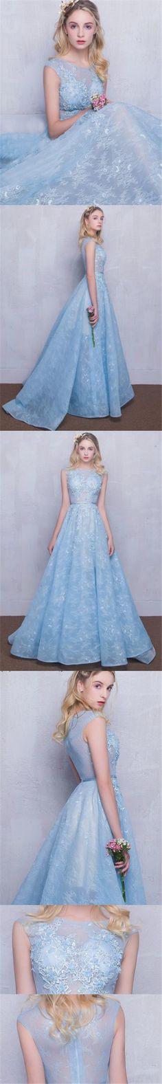 Long Lace Prom Dresses Scoop Appliques Baby Blue Prom Dress/Evening Dress JKL262#lacedress  #lace #lacepromdress #longdress #longpromdress #bluedress #light sky bleu #dance #dancewear #dancedress