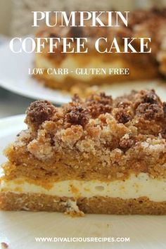 Keto Discover Pumpkin Coffee Cake - Divalicious Recipes A pumpkin coffee cake that is made with layers of cake cream cheese and a crumble topping. Baked with coconut flour this is a healthy alternative. Pumpkin Coffee Cakes, Pumpkin Dessert, Pumpkin Recipes, Cake Recipes, Dessert Recipes, Dinner Recipes, Low Carb Sweets, Low Carb Desserts, Pain Keto