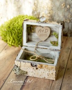 Personalized  Wedding Rustic Ring Bearer Box  Ring Pillow Box  Birch Bark  Rustic  Vintage Wooden - pinned by pin4etsy.com