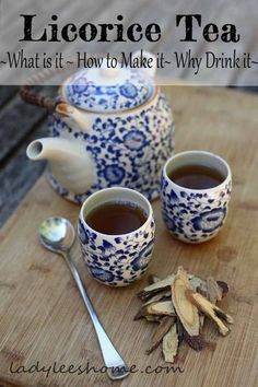 How to make licorice tea. A basic recipe and a recipe to heal a sore throat and a cough. Learn about the benefits of licorice tea and how to use it. #LadyLeesHome