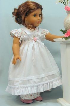 """American Girl 18"""" Doll Regency Dress and White on White Smocked Pinafore. $63.00."""