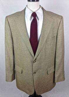 Jos A Bank Blazer 46 Beige Wool Linen Sport Coat Jacket Lightweight 46L #JosABank #TwoButton