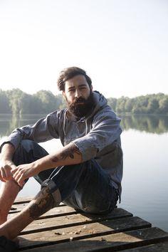 Men. Beard. Tattoo. Outdoors.