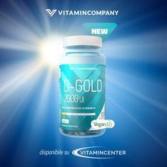 >> #Nuovo* D-GOLD Vitamincompany << Formula potenziata con ALTO DOSAGGIO di #VITAMINA D: 2000 UI* ! Vitamina D in forma di colecalciferolo marchio #Vitashine, sinonimo di altissima qualità! In compresse #vegetali adatte anche a #vegeteriani e #vegani! Scegli il meglio, SEMPRE! Acquista su #VitaminCenter! New Product, Container, Gold, Shape, Vitamin D