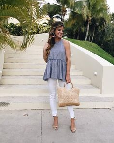 Cancun Photo Diary | BrightonTheDay. Grey peplum ruffle top+white skinny pants+nude ankle strap heeled sandals+straw handbag+earrings. Summer Dressy Casual Outfit 2017