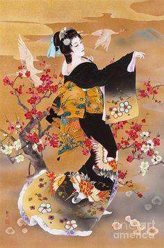 Tsuru Kame Digital Art by Haruyo Morita / Japanese art Japanese Artwork, Japanese Painting, Japanese Prints, Chinese Painting, Chinese Art, Graffiti Kunst, Samurai, Asian Cards, Geisha Art