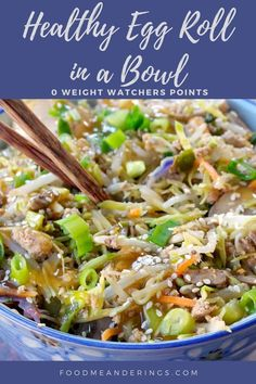 1 reviews · 20 minutes · Gluten free · Serves 10 · Egg Roll in a Bowl is a healthy, easy and satisfying Weight Watchers friendly one-pot meal made with ground turkey or ground chicken, veggies, broccoli slaw and green onions. It's 0 (Zero) WW points… More
