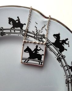 Broken china jewelry necklace equestrian horse made from an ...