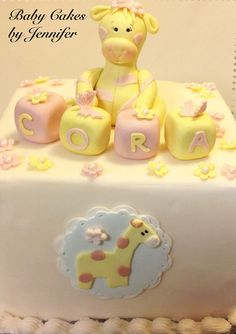 EDIBLE SAFARI Cake Topper GIRAFFE baby by BabyCakesByJennifer, $35.00