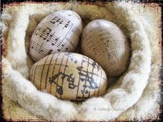 Cover eggs in sheet music paper for an easy Easter themed DIY. All you need for this project are some egg forms, sheet music of your choice, and decoupage Beginning Of Spring, Music Paper, Paper Art, Music Promotion, Raised Garden Beds, Raised Bed, Old World, Happy Easter, Holiday Fun