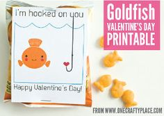 Free- Hooked on You Printable Valentines