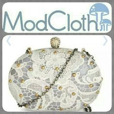 LOWEST⛄ModCloth Graceful Glamour Clutch Selling my (unused) original after purchasing another here on Posh! Gorgeous little clutch that fits ALL cell phones on either side. Very cute, vintage, and discreet with plenty of room for everything! Perfect for a date night or wedding! ❤  ▶Metal, plastic, and textile. Measures approximately 5.75 x 7 x 2 inches. Removable shoulder strap measures 44.5 inches. Press lock closure.  One exterior pocket with zipper closure.  Two interior open pockets.◀…