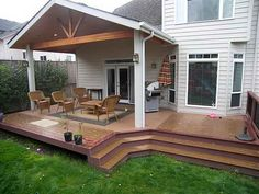 Gorgeous Backyard Covered Deck Ideas Gable End Patio Cover And Trex Deck Httptntbuildersinc - There are a great deal of methods where you could renovate yo Covered Deck Designs, Covered Patio Design, Covered Decks, Small Covered Patio, Small Patio, Covered Back Porches, Backyard Covered Patios, Backyard Patio, Wood Patio