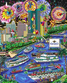 Winterfest Boat Parade 2016 Fort Lauderdale, done by Charles Fazzino