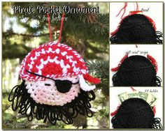 Pirate ornament and gift card or money holder. Free crochet pattern!