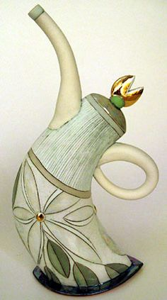 Hennie Meyer |  Ceramic teapot (:I'm A Little Teapot Short And Stout Here Is My Handle and Here Is My Spout""