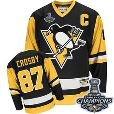 CCM Pittsburgh Penguins  87 Men s Sidney Crosby Authentic Black Stanley Cup  Champions NHL Throwback Jersey 2eee2cb99