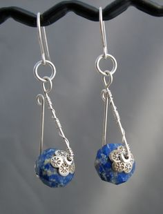 Jewelry Making Blue Lapis Stone, Sterling Silver Wire Wrapped Dangle Earrings on Etsy - Wire Wrapped Earrings, Wire Earrings, Wire Jewelry, Earrings Handmade, Jewelry Crafts, Beaded Jewelry, Silver Jewelry, Handmade Jewelry, Handmade Wire
