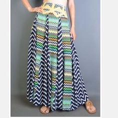 Multi Panel Chevron Skirt Skirt features multiple panels with opposing chevron prints.  Lowest prices upfront.  No trades. Skirts