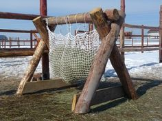"""""""Sturdy"""" hay hanger for Russian horses."""
