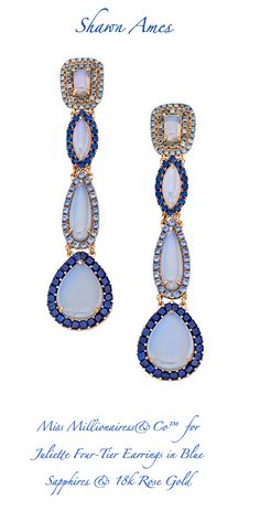 Juliette Four-Tier Earrings in Blue Chalcedony With Blue Sapphires, Set in 18k Rose Gold