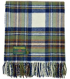 Heritage Stewart Blue Muted Dress Tartan New Wool Knee Rug Blanket by Tweedmill