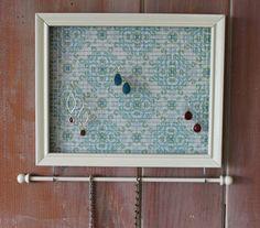 Jewelry Holder- Antique White Frame.