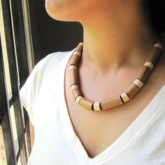 Rustic Brown Necklace - Eco friendly jewelry - First wedding anniversary gift - Eco jewelry - Paper bead necklace - Recycled jewelry