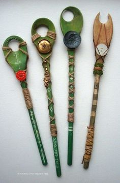 As seen on FB,  These are made from wooden spoons and called fairy wands. You will have to get a hole drilled thru. After that looks like a pretty cool DIY. They say looking thru the hole lets you see fairies. Be sure to add some bells and sparkle....they say fairies like that kinda thing. PLEASE SHARE WITH THE FAIRIES IN YOUR LIFE......... No idea who made these, but sooo cute.