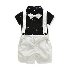9a32b77a9 Amazon.com: Ferenyi US Baby Boys Bowtie Gentleman Romper Jumpsuit Overalls  Rompers: Clothing