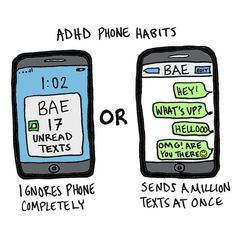 Especially our phone habits. | 19 Illustrations That Sum Up Being In A Relationship When You Have ADHD