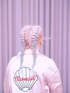 How To Dress Like A Mermaid From Head To Fin - Get Mermaid Hair This Summer With These Pink Blue And Purple Double French Braids With A Matching Pink Shiny Mermaid Embroidered Bomber Jacket click now for more info. Hair Inspo, Hair Inspiration, Coloured Hair, Mermaid Hair, Mermaid Makeup, Dream Hair, Looks Cool, Pink Hair, White Hair