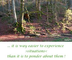 ... it is way easier to experience  >situations< than it is to ponder about them !