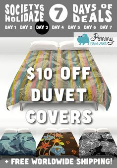 $10 OFF Duvet Covers from Pommy New York TODAY ONLY + Free Shipping Worldwide! Visit the link: http://society6.com/pommy/duvet-covers?promo=4B3PHCJXPPRJ