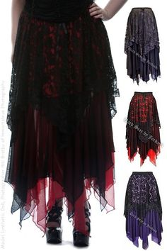 Black and Red Mesh and Lace Witchy Gothic Skirt $66.00