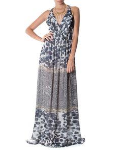 Vestido estampado com decote em v - Vestidoteca