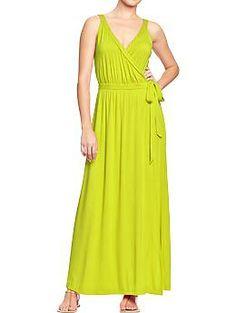 Women's Cross-Front Maxi Dresses | Old Navy every summer needs a little chartreuse OK a lot. :)