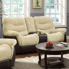 Coaster Elaina Gliding Love Seat in Cream/Brown Special Price: $1,022.00