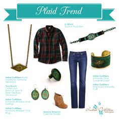 Ironworks and rustic gold tone accessories to play up the plaid trend.